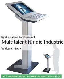 light pc stand Infoterminal wird zum Multitalent für die Industrie