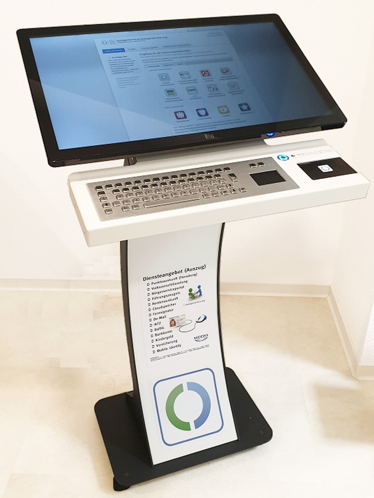 easy pc stand Buergerterminal Personalausweis reader SID Box Kiosk Terminal 32 Zoll Touchmonitor Tastatur 5