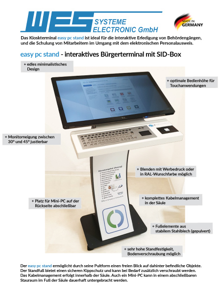 easy pc stand Buergerterminal Personalausweis reader SID Box Kiosk Terminal 32 Zoll Touchmonitor Tastatur 6