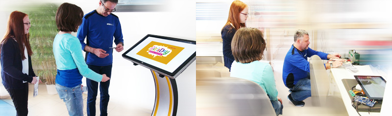 girlsday kioskterminal easy pc stand touchmonitor wes systeme electronic gmbh
