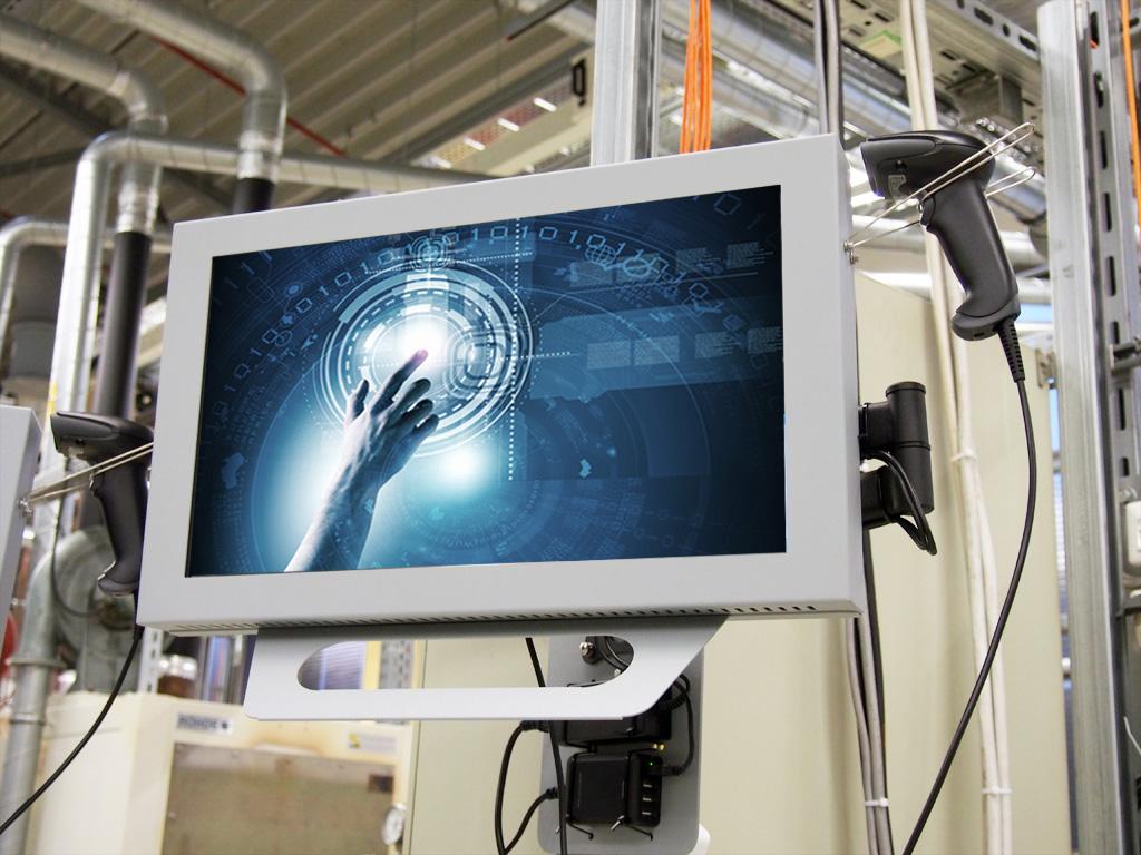 Kundenspezifische Workstations für die Produktion mit Handscanner und Raspberry Pi am flexiblem Tragarm