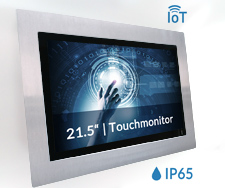 21 5 Zoll Einbau Touchmonitor mit IoT TFT Controller Raspberry Pi 3 inkl 10 Finger PCAP Touchscreen V2A Frontplatte IP65 s